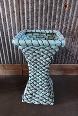 Blue Fluted Cane Basket
