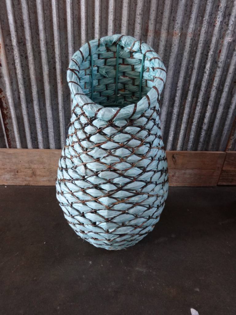 Small Blue Woven Cane Basket