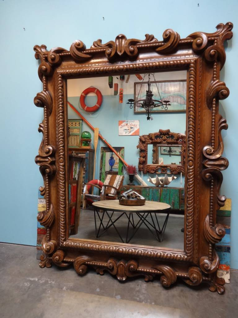 Large Hand Carved Teak Mirror 82 x 6 x 65