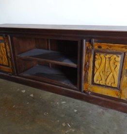 Salvage TV table console w yellow doors
