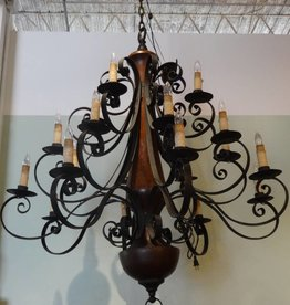 Giant Wood and Iron Chandelier