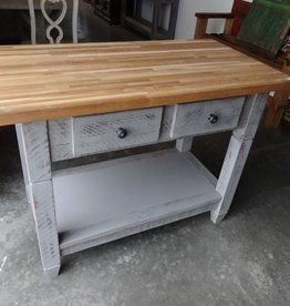 Grey Distressed Butcher Block Island