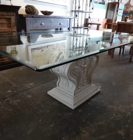 Glass top table w/ Plaster base