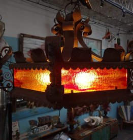Iron Stained glass chandelier