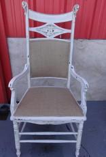 White Shabby Diamond Arm Chair