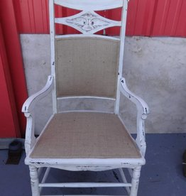White Shabby Diamond Arm Chair