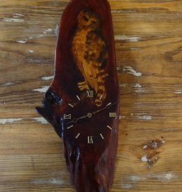 Live Edge Cypress Owl Clock