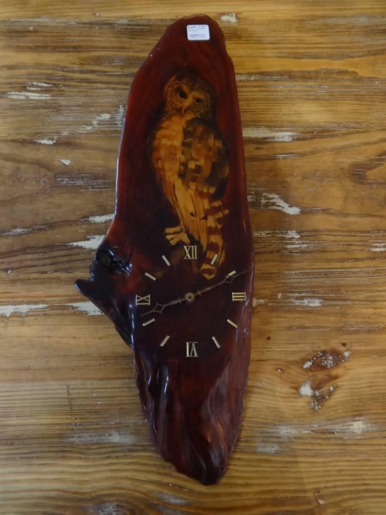 Live Edge Cypress Owl Clock
