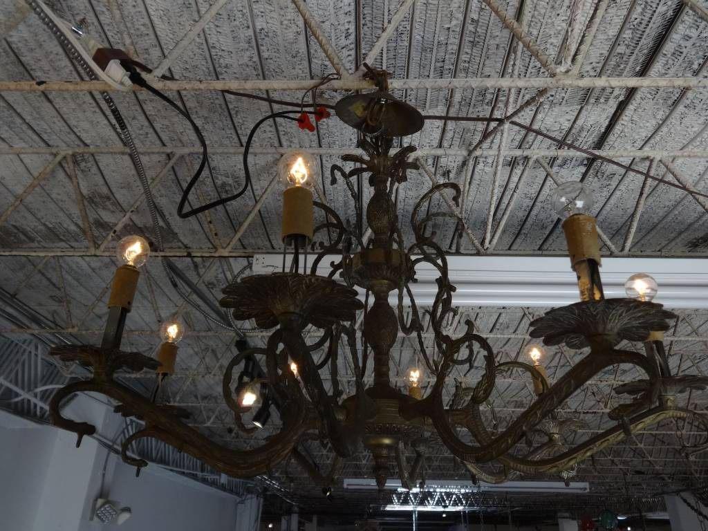 Brass 8 light chandelier