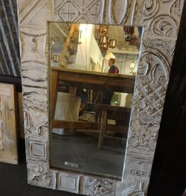 "White Tin Framed Mirror 34.5"" x 22.5"""