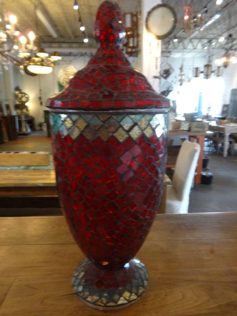 Large Mosaic Glass Urn
