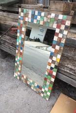 "Teak Mosaic Mirror 32"" x 47"""