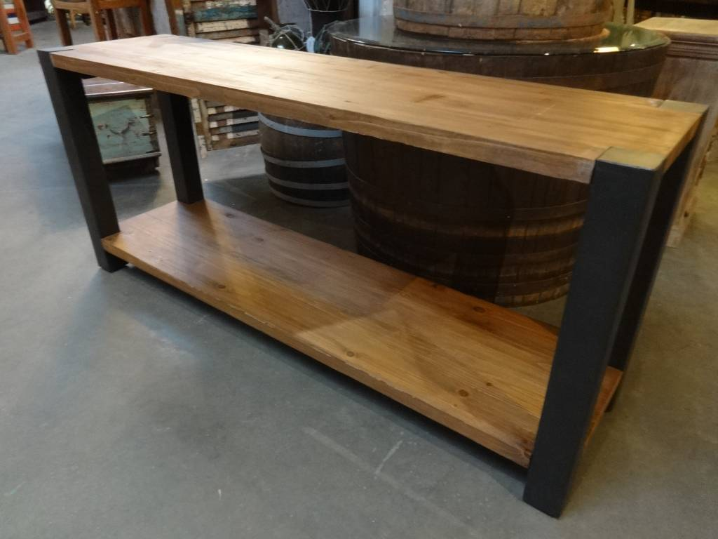 Reclaimed Pine And Iron Console Table