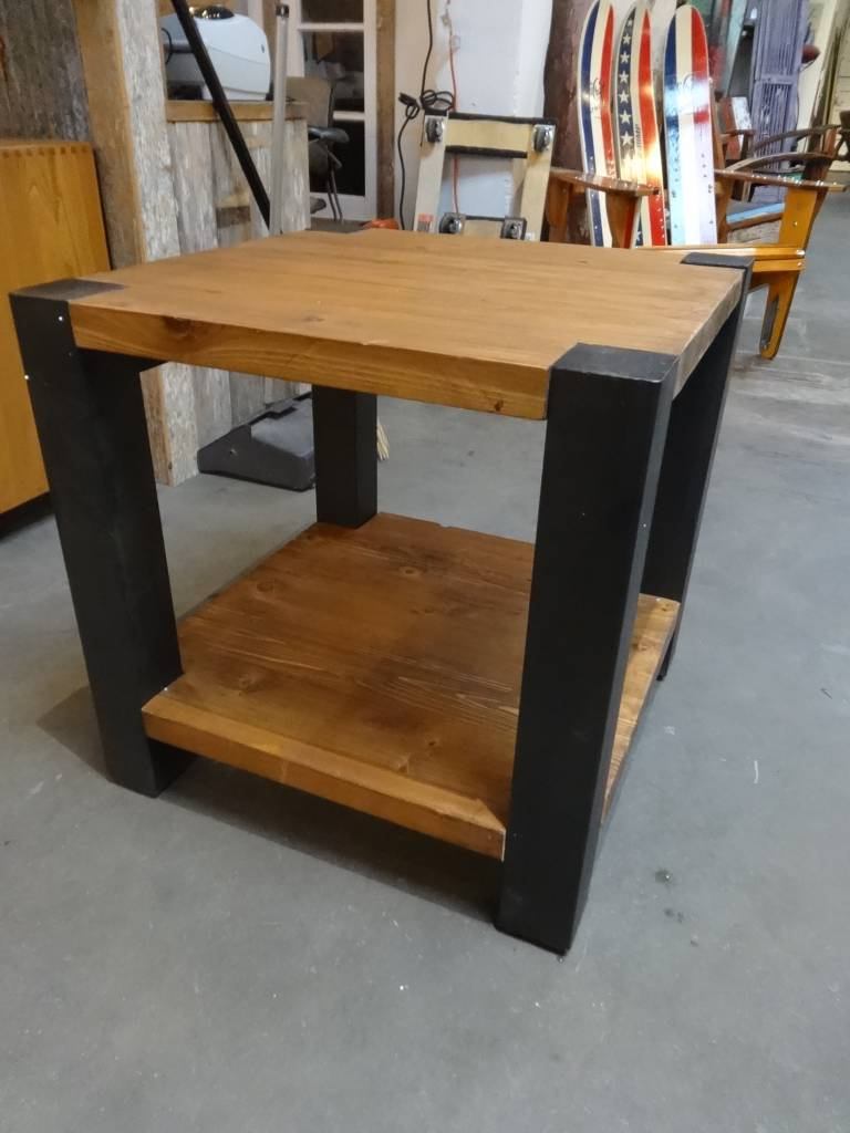 Reclaimed Pine And Iron End Table
