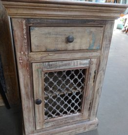 Indian Night Stand With Iron Work Door