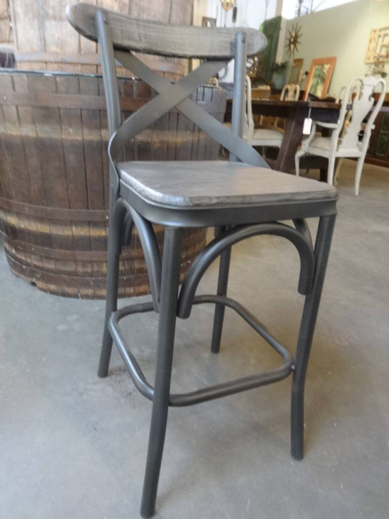 Reclaimed Pine and Metal Counter Stool
