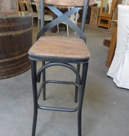 Reclaimed Pine and Metal Bar Stool