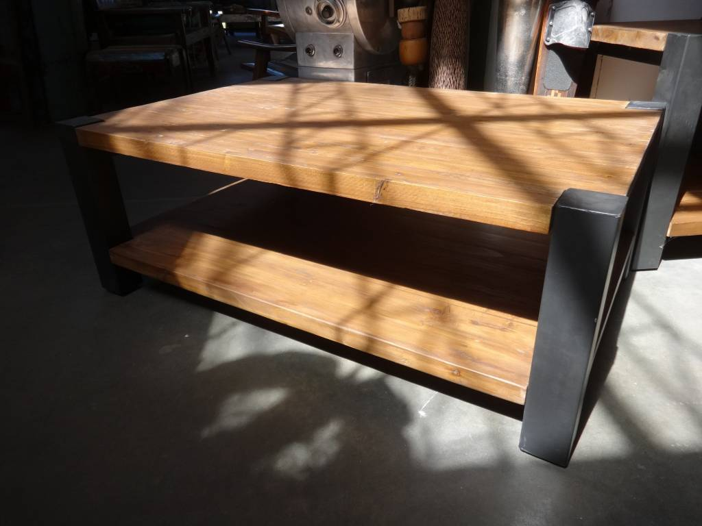 Reclaimed Pine and Iron Coffee Table