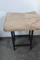 Live Edge Maple Stool w Iron Base