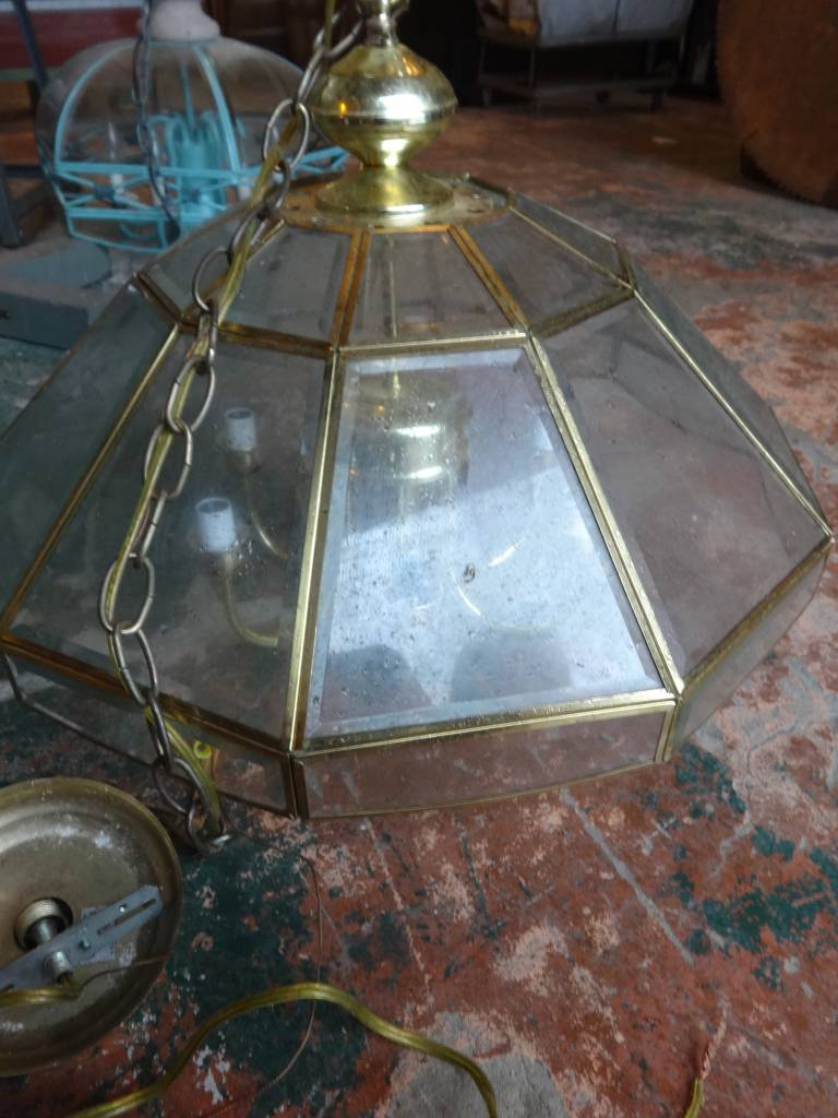 Brass and Glass 6 Light Polygon Chandelier