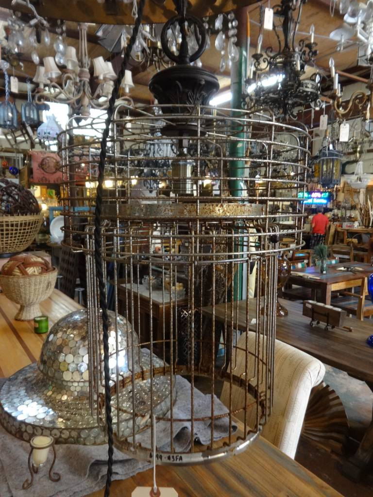 Wire Basket Chandelier
