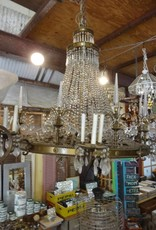 """48"""" x 48"""" Brass Crystal Lined Chandelier"""