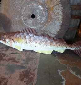 Hand Painted Large Flat Brown & Yellow Fish 48x13