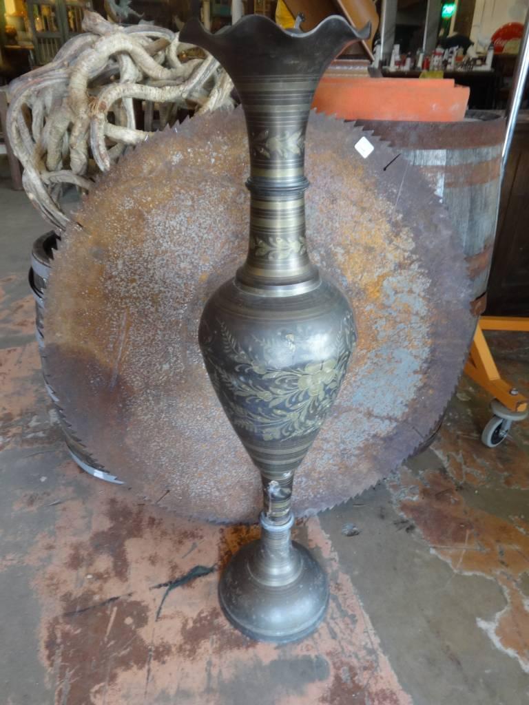 Tall Bronze Floral Urn