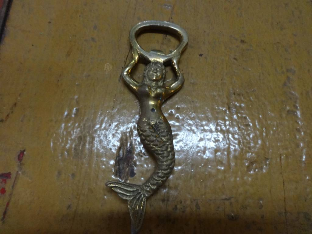 Brass Mermaid Bottle Opener with Box