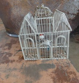 House Wire Bird Cage W/ 2 Birds