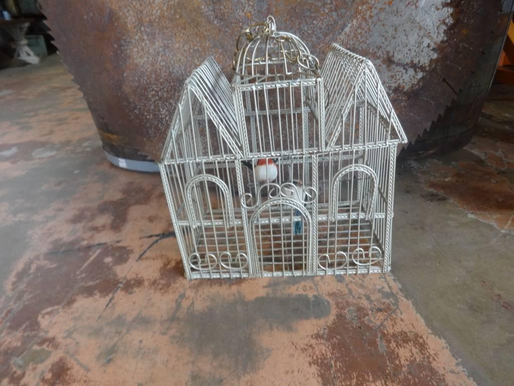 House Wire Bird Cage W/ 2 Birds