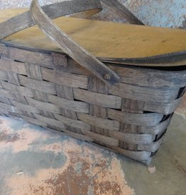 Old Woven Picnic Basket