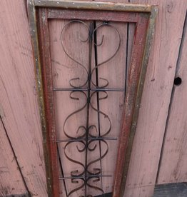 Large Red Wood and Iron Rectangle Window Panel