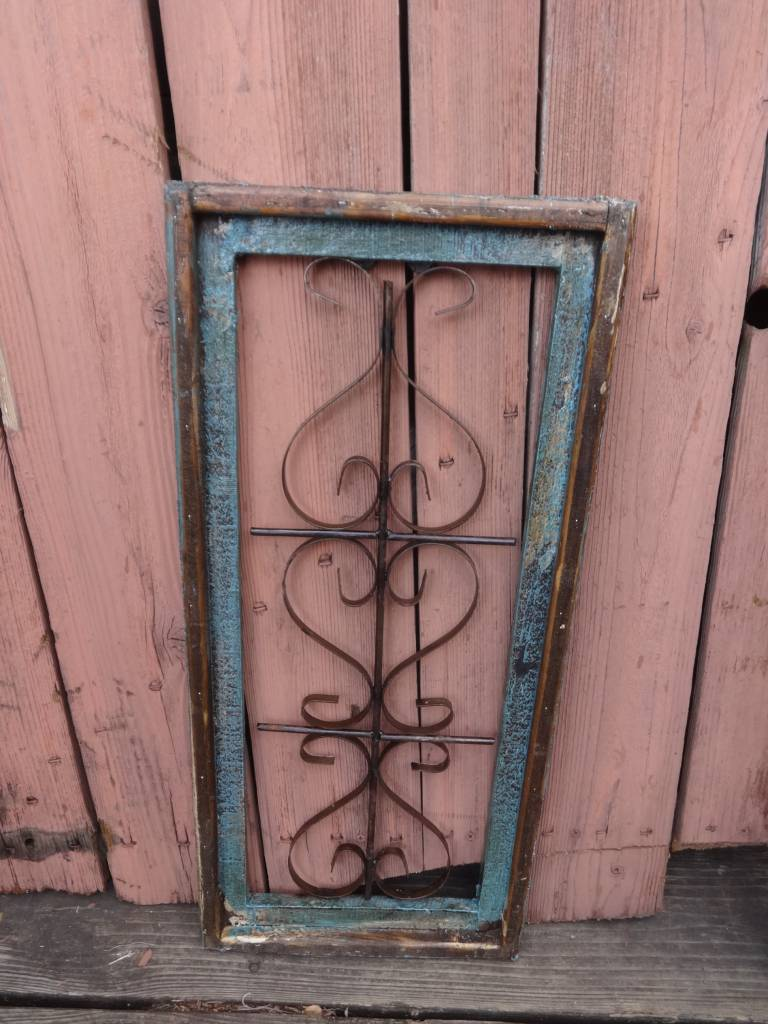 Small Turquoise Wood and Iron Rectangle Window Panel