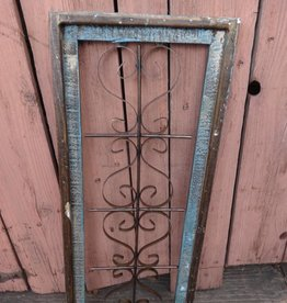Medium Turqoise Wood and Iron Rectangle Window Panel