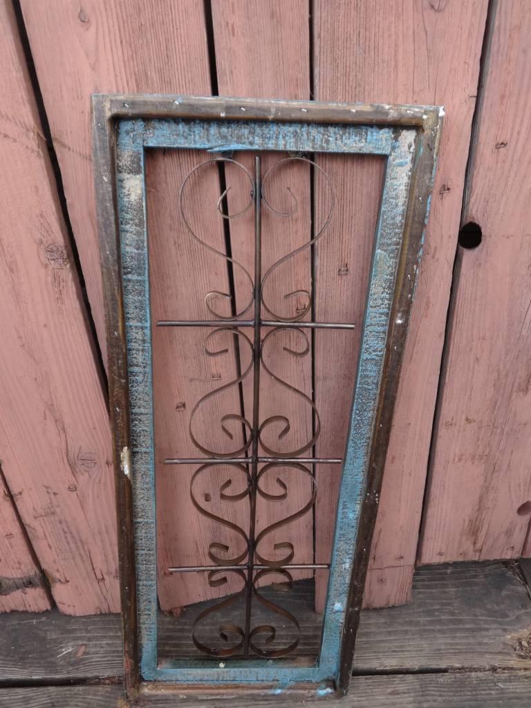 Medium Turqoise Wood and Iron Rectangle Window Panel