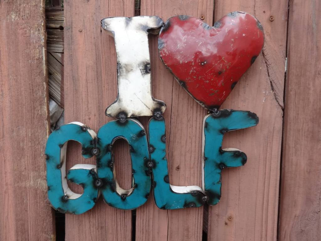 I Love Golf Tin Sign 14x15