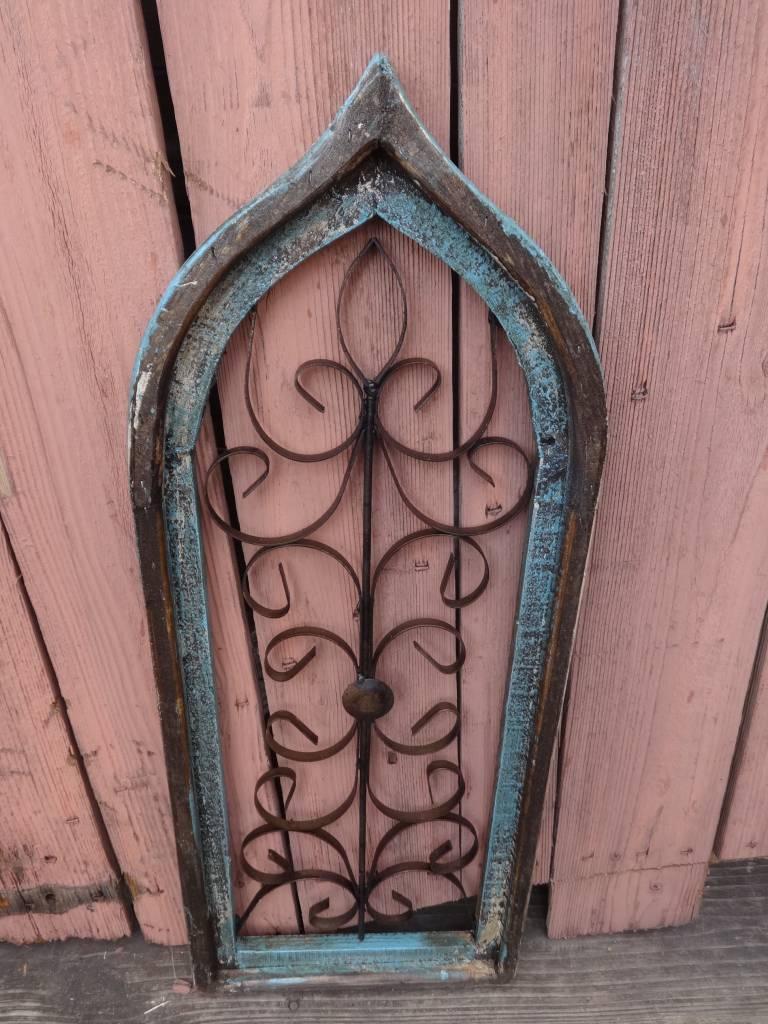 Medium Turquoise Iron and Wood Gothic Window Panel