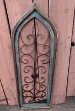 Large Turquoise Iron and Wood Gothic Window Panel