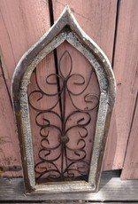 Small Beige Iron and Wood Gothic Window Panel