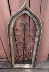 Medium Beige Iron and Wood Gothic Window Panel
