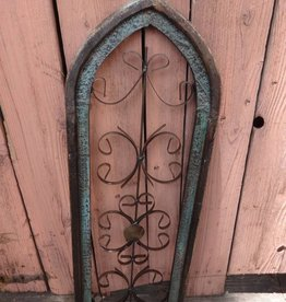 Medium Green Iron and Wood Pointed Window Panel