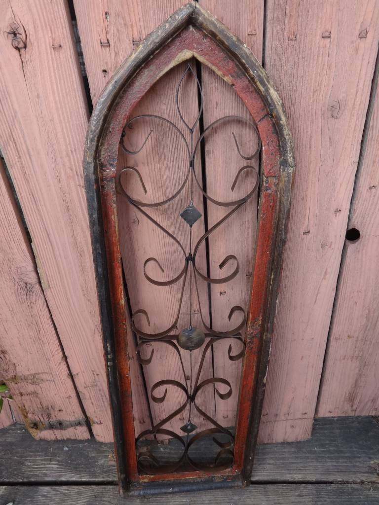 Large Red Iron and Wood Pointed Window Panel