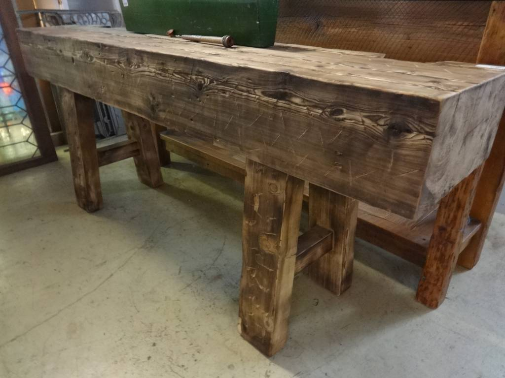Charmant Distressed Hewn Pine Console Table 30x72x15 ...