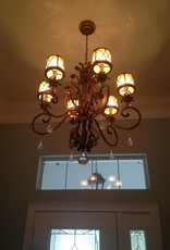 6 Light Smoked Gold w/ Crystal Bobbles Chandelier