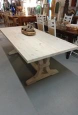 White Wash Pine Table w/ Fluted Trestle Base 30.5x84x38