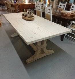 White Wash Pine Table w/ Fluted Trestle Base 30.5x84x38