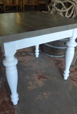 Grey Wash Pine Square Table w/ White Base 31.5x36x36