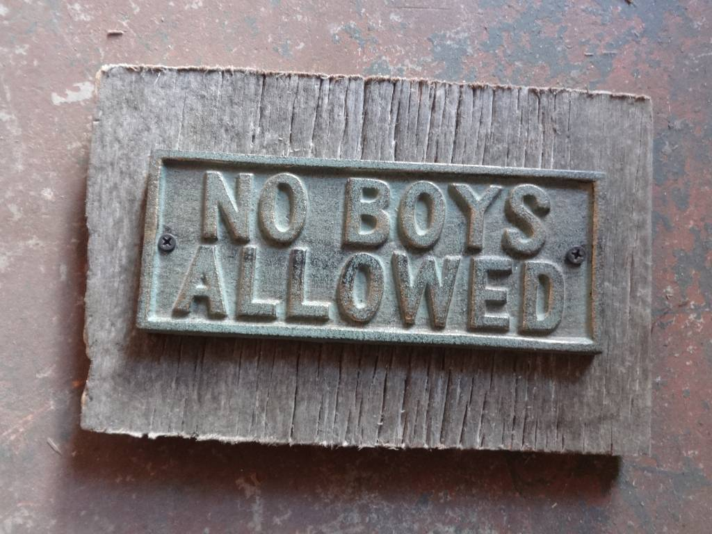 No Boys Allowed Iron Plaque on Wood