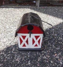 Tin Red Barn Birdhouse 8x10x7
